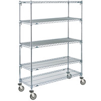 Metro 5A466EC Super Adjustable Chrome 5 Tier Mobile Shelving Unit with Polyurethane Casters - 21 inch x 60 inch x 69 inch