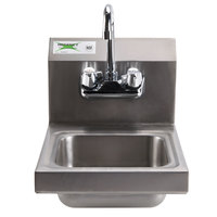 Regency 12 inch x 16 inch Wall Mounted Hand Sink with Gooseneck Faucet