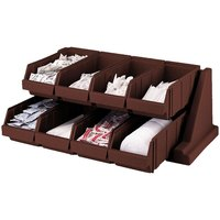 Cambro 8RS8131 Dark Brown Versa Self Serve Condiment Bin Stand Set with 2-Tier Stand and 12 inch Condiment Bins