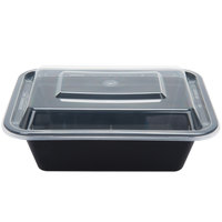 12 oz. Black 5 inch x 4 inch x 1 1/2 inch Rectangular Microwavable Container with Lid - 150 / Case