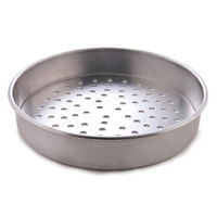 American Metalcraft PT4014 14 inch x 1 inch Perforated Tin-Plated Steel Straight Sided Pizza Pan