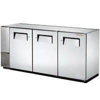 True TBB-24GAL-72-S 73 inch Stainless Steel Under Bar Refrigerator with Galvanized Top and Three Solid Doors - 24 inch Deep
