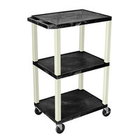 Luxor / H. Wilson WT42E Black Tuffy AV Cart - 3 Shelf, 24 inch x 18 inch x 42 inch