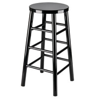 Lancaster Table & Seating 30 inch Black Metal Woodgrain Barstool