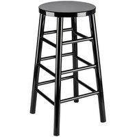 Lancaster Table & Seating Spartan Series 30 inch Black Metal Woodgrain Barstool