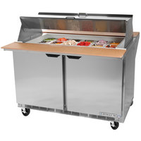 Beverage Air SPE27-12M-B-DS 27 inch Mega Top Dual Sided Refrigerated Salad / Sandwich Prep Table
