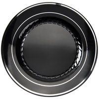 "Fineline Silver Splendor 507-BKS 7"" Black Plastic Plate with Silver Bands - 150/Case"