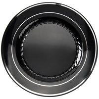 Fineline Silver Splendor 507-BKS 7 inch Black Plastic Plate with Silver Bands - 150/Case