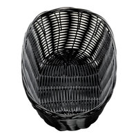 Tablecraft M2476 10 inch x 7 inch x 3 1/4 inch Black Oval Rattan Basket - 12/Pack
