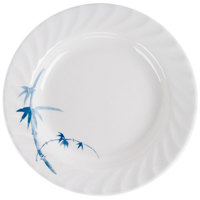 Blue Bamboo 10 1/2 inch Round Melamine Curved Rim Plate - 12/Pack