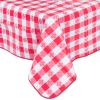 52 inch x 70 inch Red Gingham Vinyl Table Cover with Flannel Back