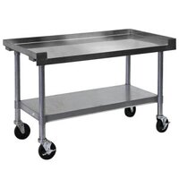 APW Wyott SSS-48C 16 Gauge Stainless Steel 48 inch x 24 inch Medium Duty Cookline Equipment Stand with Galvanized Undershelf and Casters