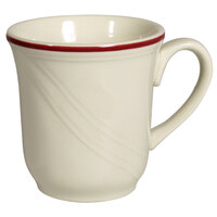 Homer Laughlin Lydia Maroon 7.25 oz. Off White China Cup - 36/Case