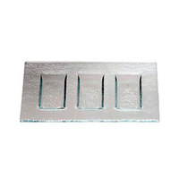 Service Ideas Tuscany Glass Eco-Line 9521 9 7/8 inch x 6 inch Clear Rectangular Three Compartment Plate with Green Tint 6/Case