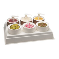 Carlisle CM1065 White 6 Hole Condiment Dispenser Bar Organizer