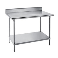 Advance Tabco SKG-367 36 inch x 84 inch 16 Gauge Super Saver Stainless Steel Commercial Work Table with Undershelf and 5 inch Backsplash