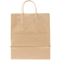 Duro Bistro Natural Kraft Paper Shopping Bag with Handles 10 inch x 6 3/4 inch x 12 inch - 250 / Case