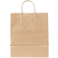 Bistro Natural Kraft Paper Shopping Bag with Handles 10 inch x 6 3/4 inch x 12 inch - 250 / Case