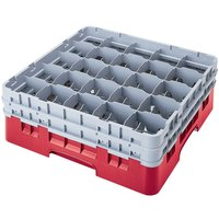 Cambro 25S1058163 Camrack 11 inch High Red 25 Compartment Glass Rack