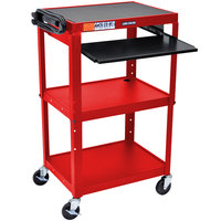 Luxor / H. Wilson AVJ42KB-RD Red Mobile Computer Cart / Workstation 24 inch x 18 inch with Keyboard Shelf