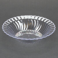 Fineline Flairware Clear 212-CL 12 oz. Plastic Bowl - 7 1/4 inch x 4 inch x 1 1/2 inch 18 / Pack