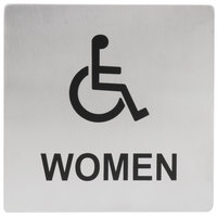 Tablecraft B21 5 inch x 5 inch Stainless Steel Handicap Accessible Women Sign