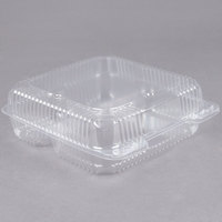 Durable Packaging PXT-933 9 inch x 9 inch x 3 inch Three Compartment Clear Hinged Lid Plastic Container - 100/Pack