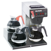 Bunn 12950.0298 CWTF15 Automatic 12 Cup Coffee Brewer with 3 Left Lower Warmers and Black Plastic Funnel - 120V