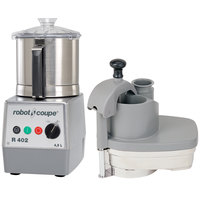 Robot Coupe R402 Combination Continous Feed Food Processor with 4.5 Qt. Stainless Steel Bowl - 2 hp
