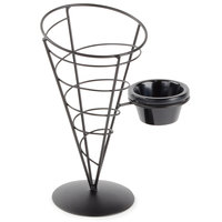 Tablecraft ACR59 Vertigo Round Appetizer Wire Cone Basket with 1 Ramekin - 5 inch x 9 inch