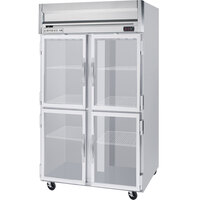 Beverage Air HRP2-1HG-LED 2 Section Glass Half Door Reach-In Refrigerator with LED Lighting - 49 cu. ft., SS Exterior