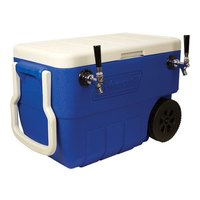 Micro Matic HDCP-D2-50B Blue 2 Faucet 50 Qt. Insulated Jockey Box with 10 inch x 15 inch Cold Plate