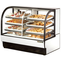 True TCGDZ-59 59 inch White Curved Glass Dual Zone Dry / Refrigerated Bakery Case - 30.35 Cu. Ft.