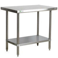 Regency 16 Gauge All Stainless Steel Commercial Work Table - 24 inch x 36 inch with Undershelf