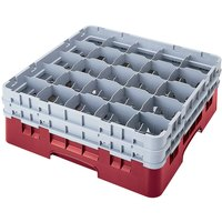 Cambro 25S434416 Camrack 5 1/4 inch High Cranberry 25 Compartment Glass Rack