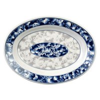 Blue Dragon 14 1/8 inch x 10 5/8 inch Oval Melamine Deep Platter - 12/Pack