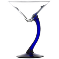 Libbey 7700BS Bravura 6.75 oz. Martini Glass with Cobalt Stem - 12/Case