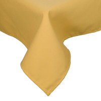 54 inch x 120 inch Yellow Hemmed Polyspun Cloth Table Cover