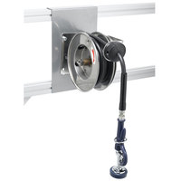 T&S B-7102-01 12' Open Compact Stainless Steel Hose Reel with EB-0107 High Flow Spray Valve