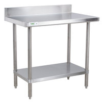 Regency 16 Gauge All Stainless Steel Commercial Work Table - 30 inch x 36 inch with Undershelf and 4 inch Backsplash