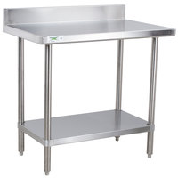 Regency 30 inch x 36 inch 16-Gauge Stainless Steel Commercial Work Table with 4 inch Backsplash and Undershelf