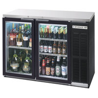 Beverage Air BB48GY-1-B-27-LED 48 inch Back Bar Refrigerator with 2 Glass Doors and Stainless Steel Top - 115V, LED Lighting