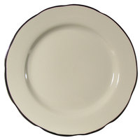 CAC SC-16B Seville 10 3/4 inch Ivory (American White) Scalloped Edge China Plate with Black Band   - 12/Case