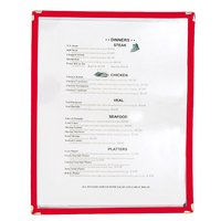 8 1/2 inch x 11 inch Red Single Pocket Menu Cover