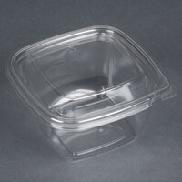 Sabert C15016TR250 Bowl2 16 oz. Clear PETE Square Tamper Evident Bowl with Lid - 25 / Pack