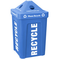 Blue Stacking Pyramid Lid Recycle Bin - 48 Gallon