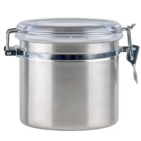 1.09 Qt. Stainless Steel Ingredient Storage Canister with Clear Plastic Lid