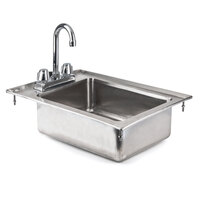 Regency 16 Gauge One Compartment 10 inch x 14 inch x 5 inch Stainless Steel Drop-In Sink with 8 inch Gooseneck Faucet