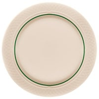 Homer Laughlin 1430-0336 Green Jade Gothic Off White 8 1/8 inch China Plate - 36/Case