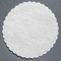 5 inch White Floral Linen Paper Doilies - 1000 / Pack